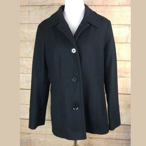 NAUTICA Womens Black 3 Button Pea Coat Jacket